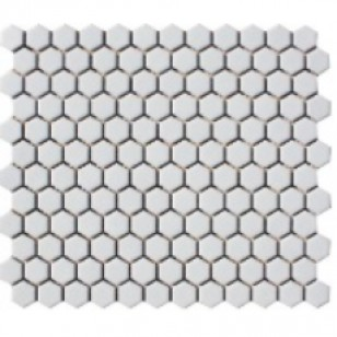 White hexagonal ceramic mosaic, $7 per sheet